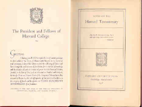 Image for Notes on the Harvard Tercentenary