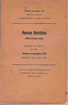 Image for Human Nutrition: Reprint of Part I of the Yearbook of Agriculture, 1939